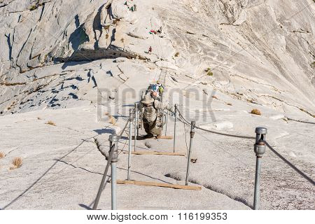 The Cables Up Half Dome In Yosemite National Park