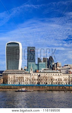 London City Skyscrapers View Over Thames River On Sunny Day