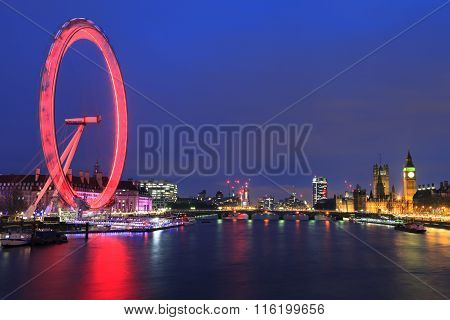 London, United Kingdom - 24 January 2016: London Eye Is The Tallest Ferris Wheel In Europe, Big Ben