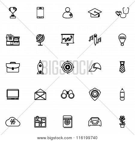 Job Description Line Icons On White Background
