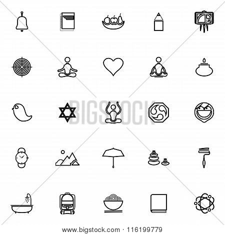 Zen Society Line Icons On White Background