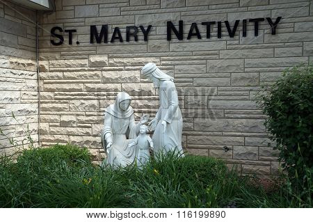 Sculptures in Front of the St. Mary Nativity Church