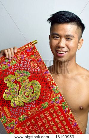 Asian Man wishing happiness for chinese new year