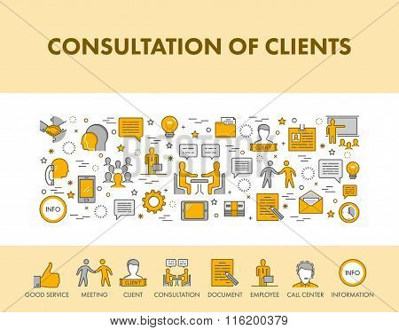 Line Design Concept Web Banner And Icons For Consultation Of Cli