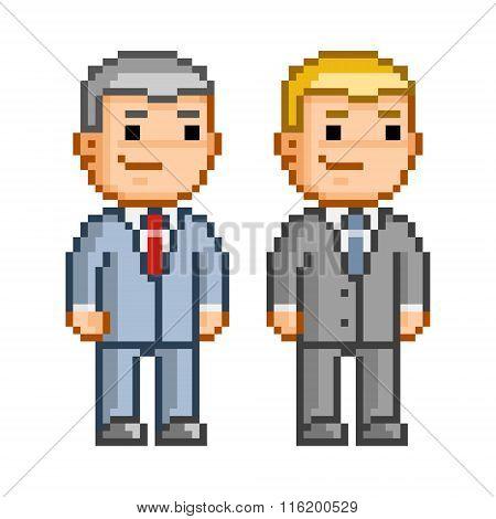 Vector Pixel Art Smiling Business People.