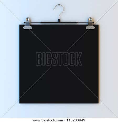 3d render illustration mockup of empty paper frame on hanger clips. Paint surface empty to place your photo, image, picture, text or logo.