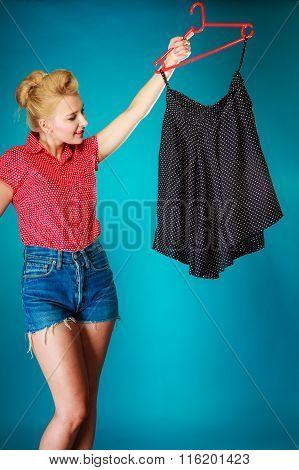 Pinup Girl Woman Buying Black Skirt. Sale