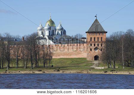 The Vladimir tower and dome of Hagia Sophia sunny day in april. Veliky Novgorod