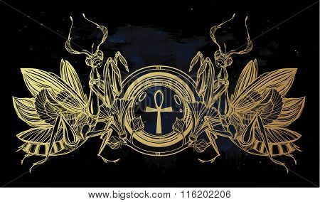 Mantis beetle with Ankh.
