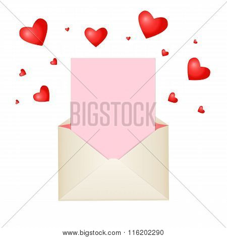 Postal Envelope With Piece Of Paper And Red Hearts For Greeting With Valentine Day Or For Your Weddi