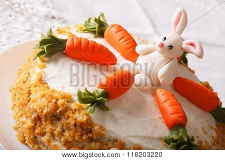 Celebratory Cake Decorated With Carrot And Bunny Close-up