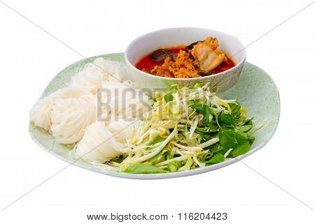 Thai Vermicelli Eaten With Chicken Curry Isolated On White Background