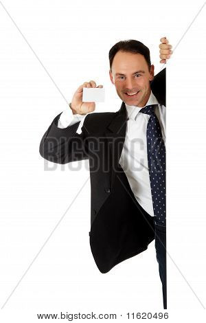 Businessman Holding Blank Card.