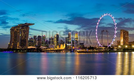 Colorful Singapore business district skyline