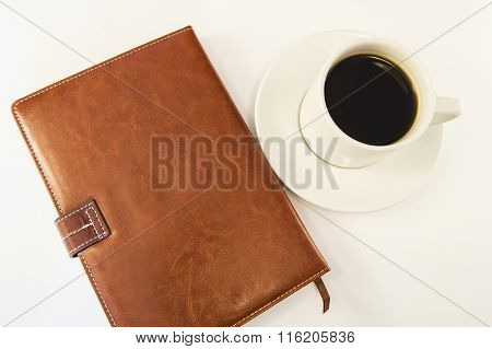 Insulated Brown Organizer, A Cup Of Coffee, Top View