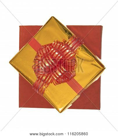 Isolated Gift Boxes In Red And Gold Packaging, Top View