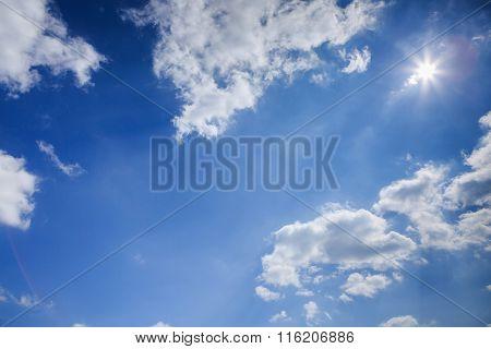 Clouds Witt Sun In The Blue Sky