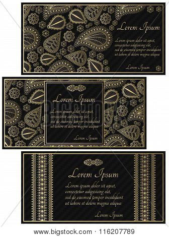 Set of black invitation cards with golden paisley. Carbon texture and floral elements. Good for widd