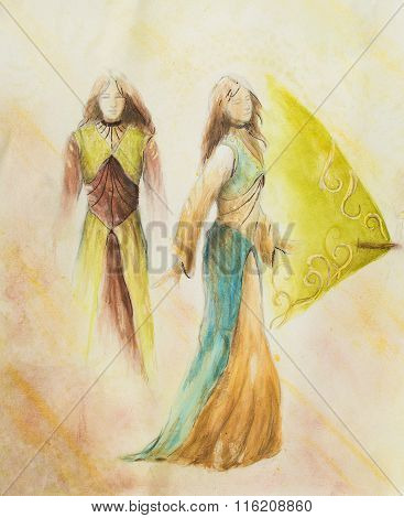 sketch of mystical woman  in beautiful ornamental dress  inspired by middle age design, with ornamen