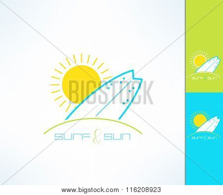 Set of vector surfing company label logo made in modern clean and bright design. Surf and sun tshirt