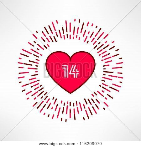 Vector valentines heart on tribal outburst background with 14 date inside. Love and romance design e