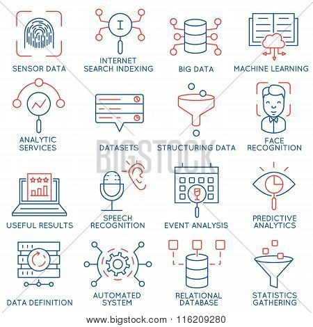 Vector Set Of 16 Icons Related To Business And Data Management - part 1