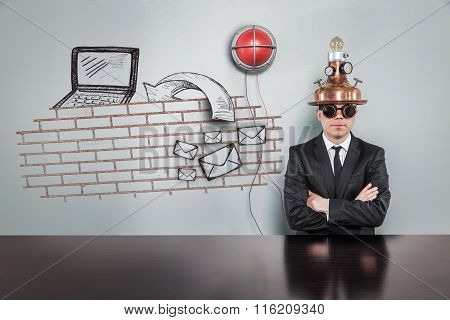 Firewall concept with alert light and vintage businessman