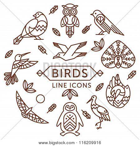 Birds Line Icons