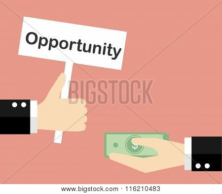 Giving opportunity business concept. Vector illustration.