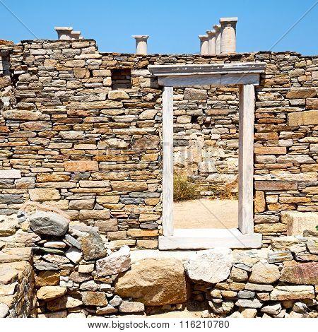 Archeology  In Delos Greece The Door