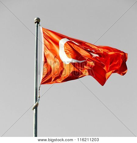 Turkey World Waving Flag In The Blue Sky  Colour