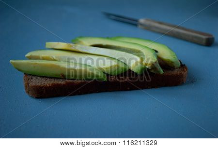 Avocado Sandwich On Dark Rye Bread