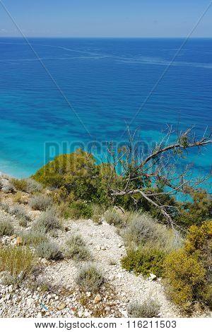 View of Kokkinos Vrachos Beach, Lefkada, Ionian Islands, Greece