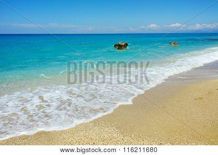 Rock in the water of Katisma Beach, Lefkada, Greece