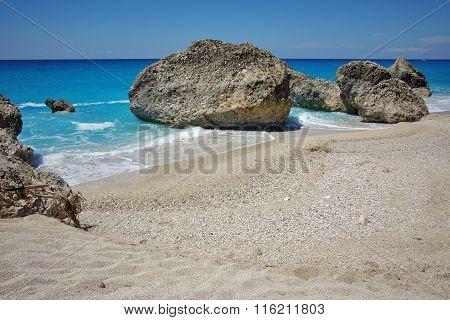 Sunny Day at Megali Petra beach, Lefkada,  Greece