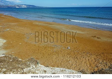 Red sands of xsi beach, Kefalonia, Greece