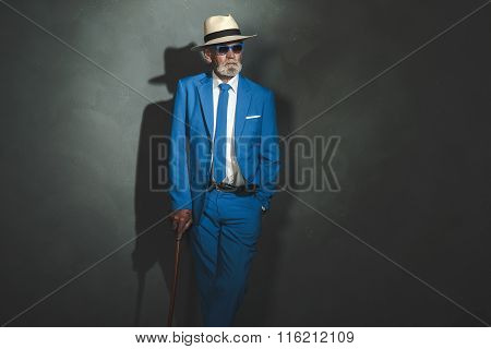 Elegant Senior Man With Cane Leaning Against Wall