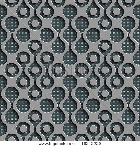 Seamless Damask Pattern. Vector Circle Background. Gray Regular Texture