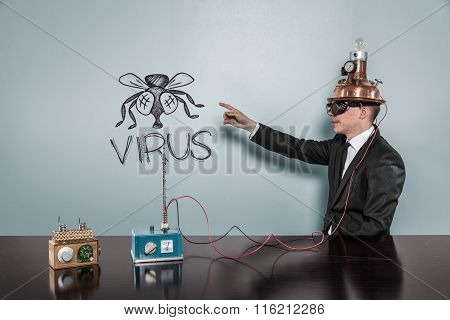 Virus text with vintage businessman