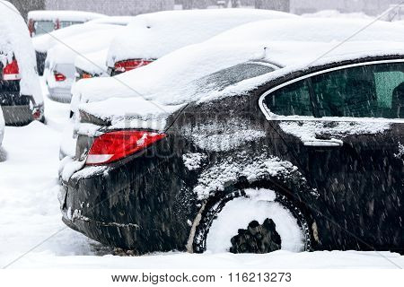 Snow-covered Cars In Parking Lot