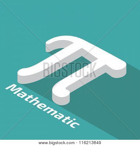 Mathematic Pi Icon Isometric