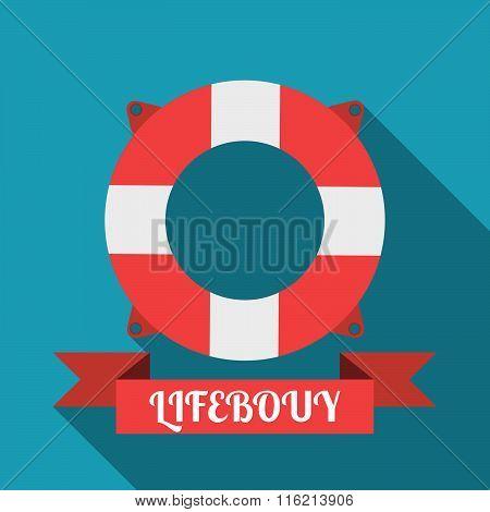 Lifebouy Icon Flat Style. Lifebouy Poster