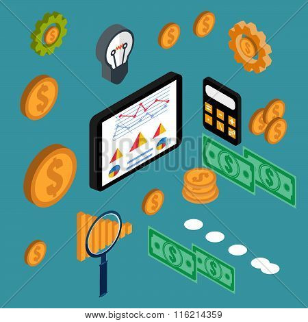 Examining Economic Statistic, Web Analytics. Financial Examiner. Vector Illustration.
