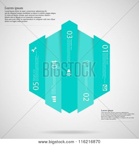 Hexagonal Infographic Template Vertically Divided To Five Blue Parts