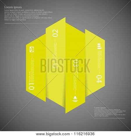 Hexagonal Infographic Template Vertically Divided To Four Yellow Parts