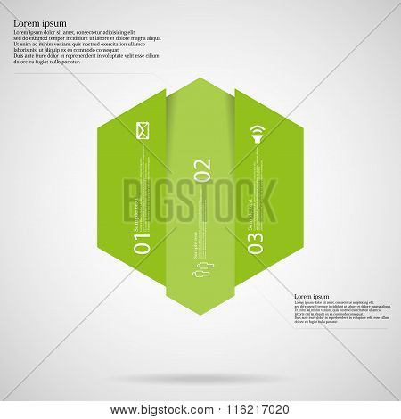 Hexagonal Infographic Template Vertically Divided To Three Green Parts