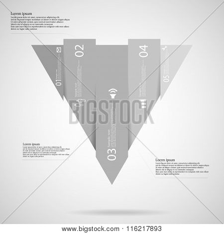 Triangle Infographic Template Vertically Divided To Five Grey Parts
