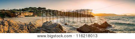Panoramic View Of Plage De Petra Muna Near Calvi In Corsica