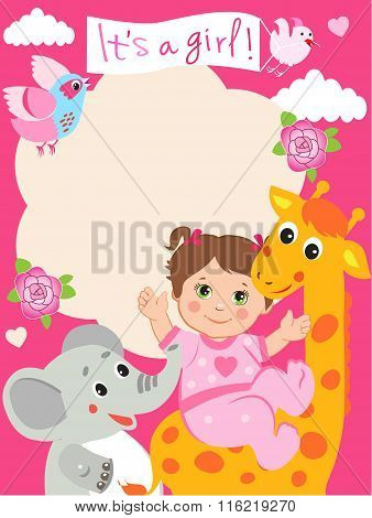 Baby Girl Shower Invitation Card With Funny Giraffe, Elephant And Bird. Vector Cartoon Illustration. Invitation Card Template. Invitation Card Design. Invitation Card Ideas. Invitation Card Sample.