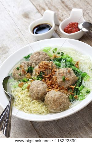 bakso, meatball soup with noodles, indonesian cuisine